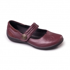 POEM Ladies Leather Extra Wide (2E/3E) Mary Jane Shoes Burgundy