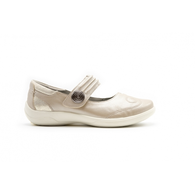 62fabe8e Padders POEM Ladies Leather Extra Wide (2E/3E) Shoes Metallic|Shuperb