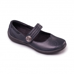 POEM Ladies Leather Extra Wide (2E/3E) Mary Jane Shoes Navy