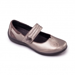 POEM Ladies Leather Extra Wide (2E/3E) Mary Jane Shoes Pewter