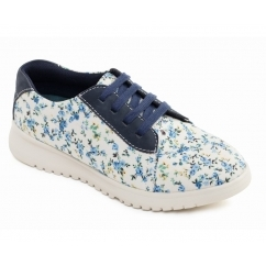 RE FLOWER Ladies Floral Lace Casual Shoes Navy