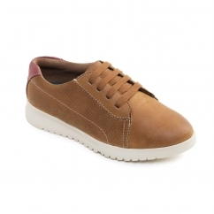 RE RUN Ladies Leather Extra Wide (2E/3E) Shoes Tan