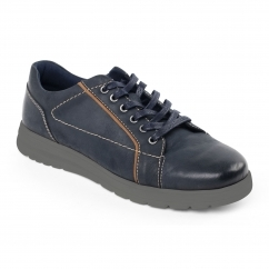 REACT Mens Leather Wide (G/H) Trainers Navy