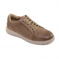 REACT Mens Leather Wide (G/H) Trainers Tobacco