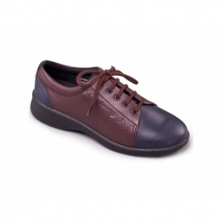 REFRESH 2 Ladies Leather Extra Wide (3E/4E) Shoes Navy/Bordeaux