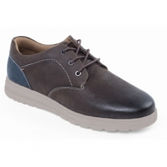 REGAIN Mens Leather Extra/Wide Fit Lace Up Shoes Brown