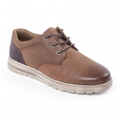 Padders REGAIN Mens Leather Wide (G Fit) Shoes Tan