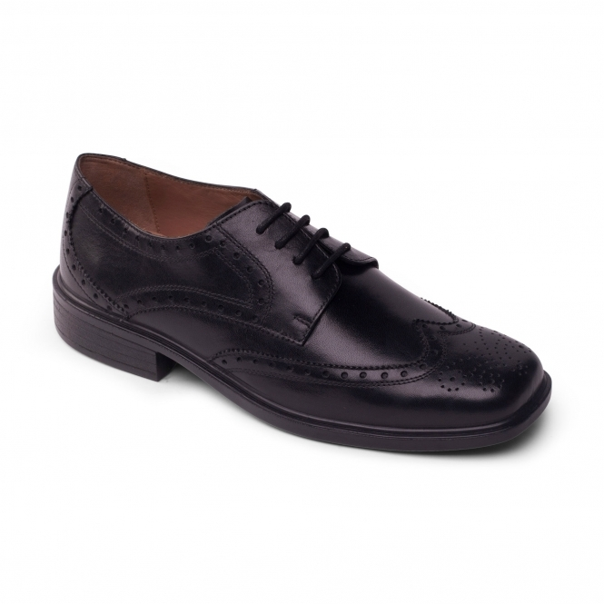 Padders REID Mens Leather Wide Oxford Brogue Shoes Black Polished