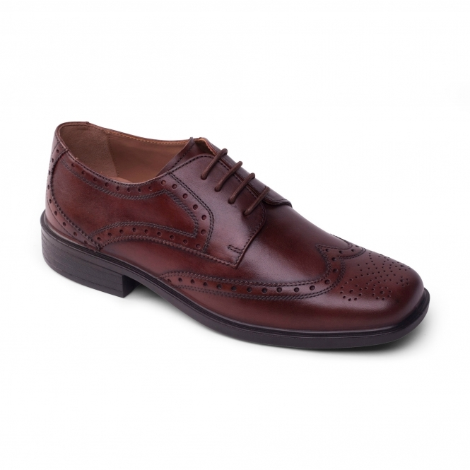 Padders REID Mens Leather Wide Oxford Brogue Shoes Brown