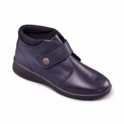 REJOICE Ladies Leather Extra Wide (3E/4E) Boots Navy