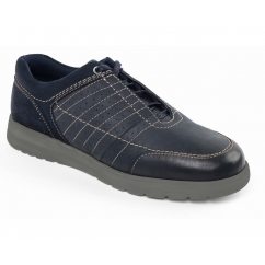 RELAY Mens Leather Extra/Wide Fit Lace Up Trainers Navy