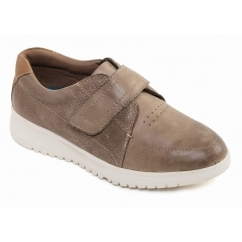 RELEASE Ladies Leather Velcro Wide Fit Shoes Taupe