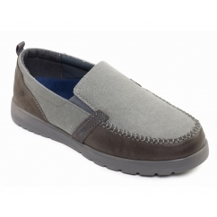 REPEAT Mens Leather Canvas Slip On Wide Fit Loafer Shoes Grey