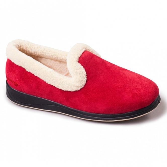 Padders REPOSE Ladies Microsuede Extra Wide (EE) Fitting Full Slippers Red