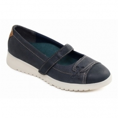 Padders REQUEST Ladies Leather Extra Wide (2E) Mary Jane Shoes Navy