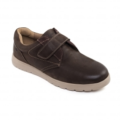 RESTART Mens Leather Touch Fasten Shoes Brown