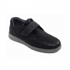 RESTART Mens Leather Wide (G Fit) Shoes Black