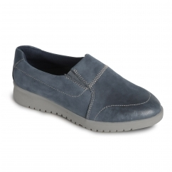 RETREAT Ladies Leather Extra Wide (2E/3E) Shoes Navy