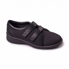 REVIVE 2 Ladies Leather Extra Wide (3E/4E) Shoes Black Lycra