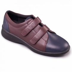 REVIVE 2 Ladies Leather Extra Wide (3E/4E) Shoes Navy/Bordeaux