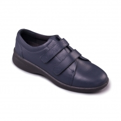 REVIVE 2 Ladies Leather Extra Wide (3E/4E) Shoes Navy