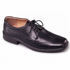 RILEY Mens Leather Wide (G Fit) Brogue Shoes Black
