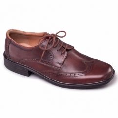 RILEY Mens Leather Wide (G Fit) Brogue Shoes Brown