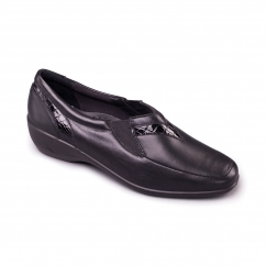 RITA Ladies Leather Extra Wide (2E) Shoes Black
