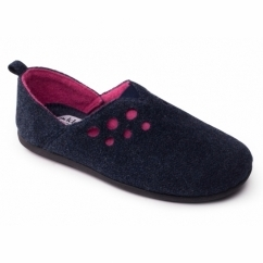 Padders RIVA Ladies Felt Extra Wide (2E/3E) Mule Slippers Navy