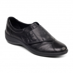 ROSE Ladies Leather Wide (E Fit) Shoes Black