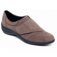 ROSE Ladies Leather Wide E Fit Touch Fasten Shoes Taupe