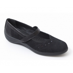 ROWYN Ladies Leather Wide Fit Mary Jane Shoes Black