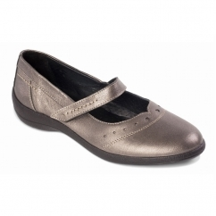 Padders ROWYN Ladies Leather Wide (E Fit) Mary Jane Shoes Pewter