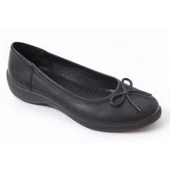 ROXY Ladies Leather Wide Fit Comfort Pumps Flats Black
