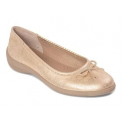 ROXY Ladies Leather Wide Fit Comfort Pumps Flats Gold