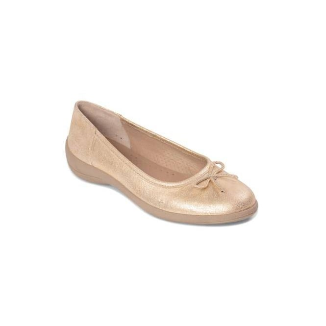 85f2c72be89c Padders ROXY Ladies Leather Wide Fit Comfort Pumps Flats Gold