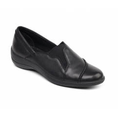 RUTH Ladies Leather Wide (E Fit) Loafers Black