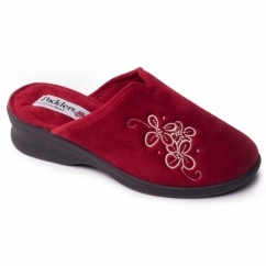 Padders SABLE Ladies Microsuede Extra Wide (2E) Mule Slippers Red