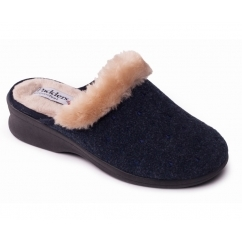 Padders SCARLET Ladies Textile Extra Wide (2E) Mule Slippers Navy