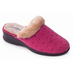 Padders SCARLET Ladies Textile Extra Wide (2E) Mule Slippers Raspberry