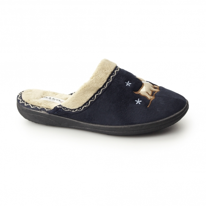Padders SCOTTY Ladies Microsuede Extra Wide (2E) Mule Slippers Navy