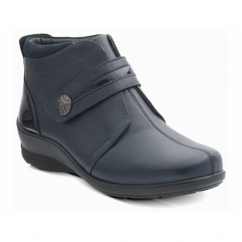 SHIRLEY Ladies Leather Velcro Wide E/EE Boots Navy