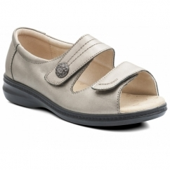 SHORE Ladies Leather Super Wide EEEE Fit Touch Fasten Sandals Pewter