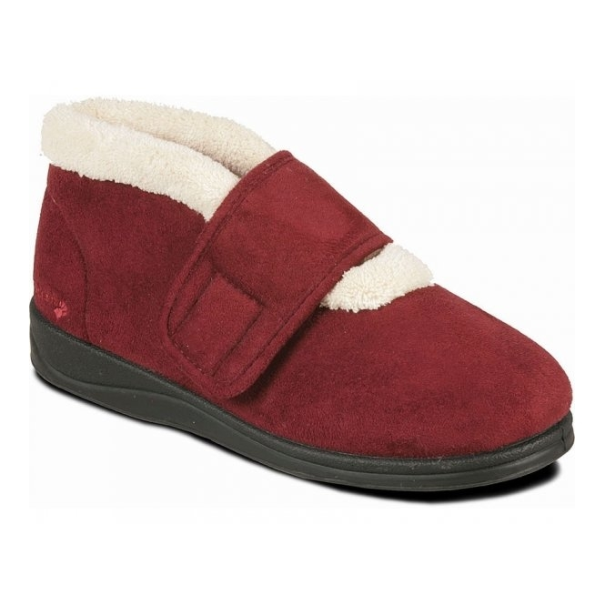 Padders SILENT Ladies Microsuede Extra Wide (EE) Fitting Boots Slippers Burgundy