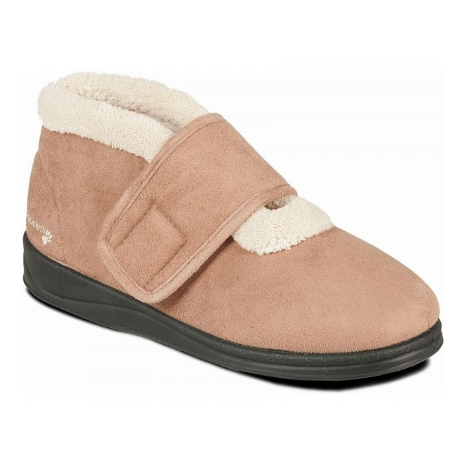 Padders SILENT Ladies Microsuede Extra Wide (EE) Fitting Boots Slippers Camel