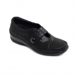 SIMONE 2 Ladies Leather Wide (E/2E) Shoes Black Reptile