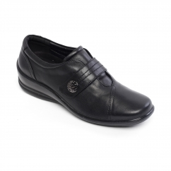 SIMONE Ladies Crinkle Patent Wide (E/2E) Shoes Black