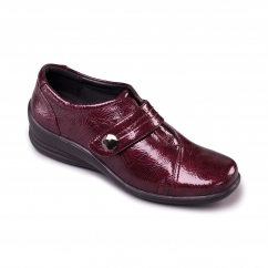 SIMONE Ladies Patent Velcro E/EE Dual Wide Shoes Burgundy