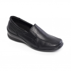 SKYE Ladies Leather Wide (E/2E) Loafers Black