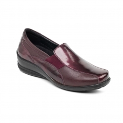 SKYE Ladies Leather Wide (E/2E) Loafers Wine